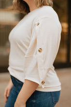 Load image into Gallery viewer, Cream Knit Top w/Button Detail on Sleeve - The Cady