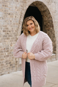 Chunky Knit Cardigan, Lavender - The Charlotte