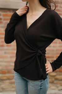 Ribbed Side Tie Wrap Top, Black - The Valentina