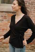 Load image into Gallery viewer, Ribbed Side Tie Wrap Top, Black - The Valentina