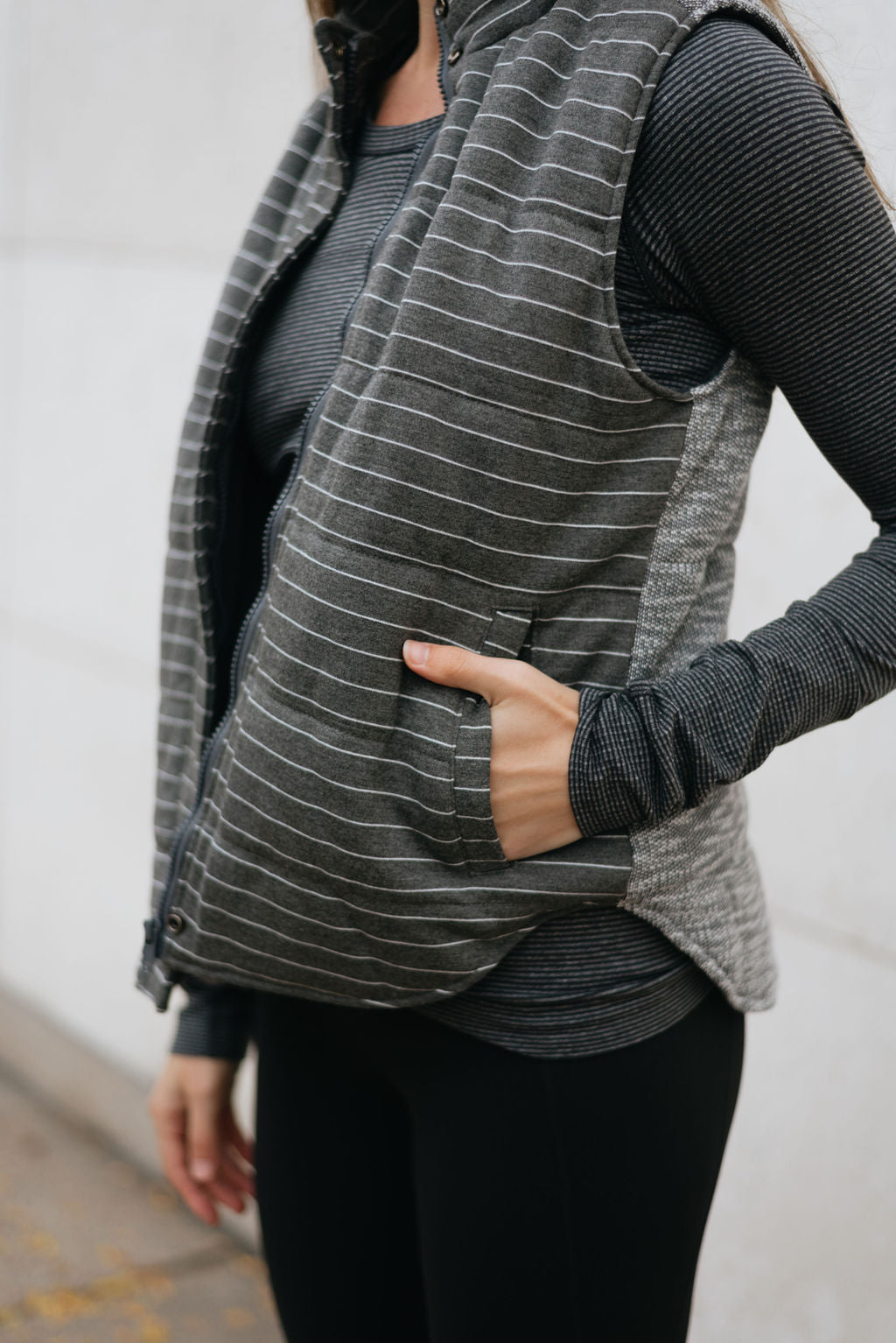 Two-tone Grey Striped Leisurewear Vest - The Elsa
