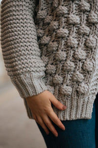 Hand Knit Dove Pom Pom Cardigan - The Amal