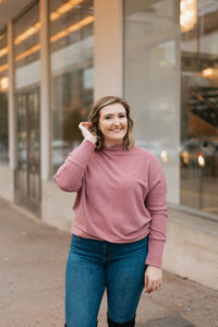 Mauve Mock Neck Ribbed Sweater with Dolman Sleeves - The Hanna