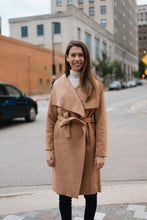 Load image into Gallery viewer, Fuzzy Faux Teddy Sherpa Maxi Coat with Waist Cinching Belt, Camel - The Nora
