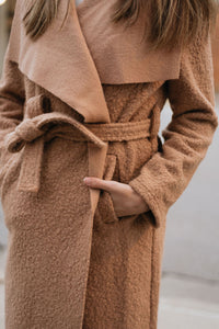 Fuzzy Faux Teddy Sherpa Maxi Coat with Waist Cinching Belt, Camel - The Nora