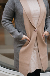 Grey/Camel Color Block Oversize Knit Coat with Pockets - The Christiane