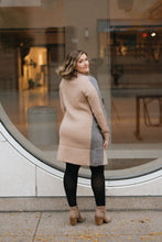 Load image into Gallery viewer, Grey/Camel Color Block Oversize Knit Coat with Pockets - The Christiane