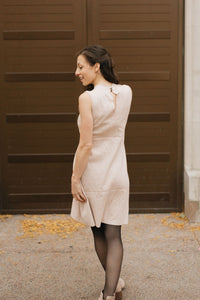 Oatmeal Sleeveless Mock Neck Sweater Dress - The Preeti