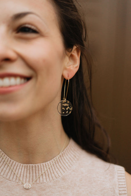 The Layla - Gold Flake Round Dangles, Handmade