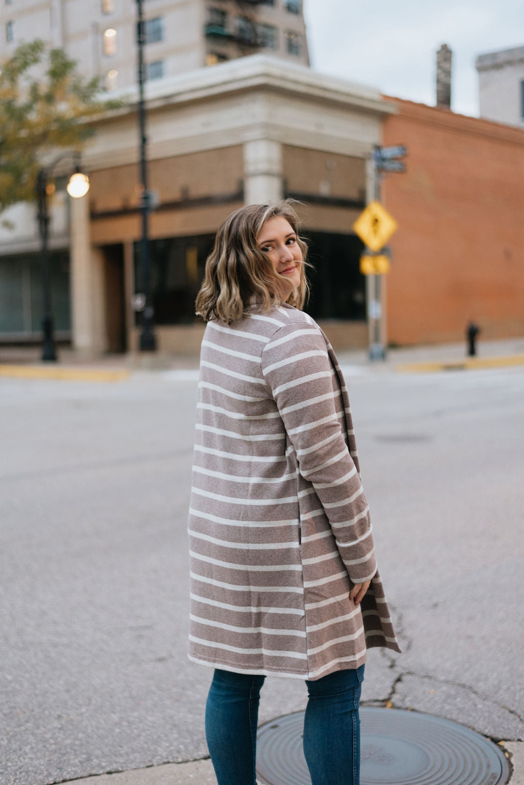 Mocha Striped Cardigan Jacket with Collar - The Benazir