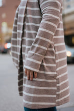 Load image into Gallery viewer, Mocha Striped Cardigan Jacket with Collar - The Benazir