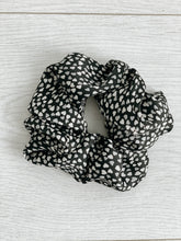 Load image into Gallery viewer, Black & White Heart Silk Scrunchie