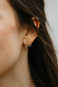 Delicate Gold Metal Flower Stud
