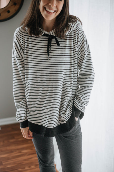 Nautical Black/White Striped Hoodie