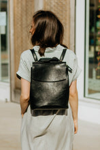 Load image into Gallery viewer, Vegan Leather Convertible Backpack - Black