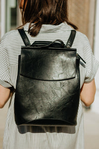Vegan Leather Convertible Backpack - Black