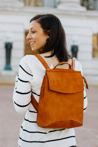 Vegan Leather Convertible Backpack - Camel