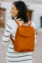 Load image into Gallery viewer, Vegan Leather Convertible Backpack - Camel