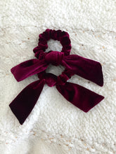 Load image into Gallery viewer, Burgundy Velvet Bow Scrunchie