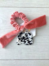 Load image into Gallery viewer, Living Coral Velvet Bow Scrunchie