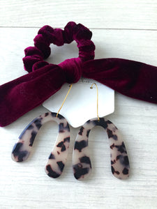Burgundy Velvet Bow Scrunchie
