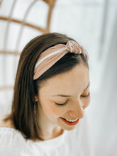Load image into Gallery viewer, Pink Pinstripe Top Knot Headband