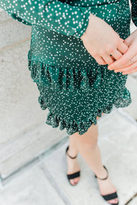 hunter green dress with polka dots & frills