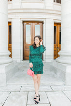 Load image into Gallery viewer, hunter green dress with polka dots & frills