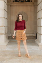 Load image into Gallery viewer, Camel Corduroy Mini Skirt - The Toni