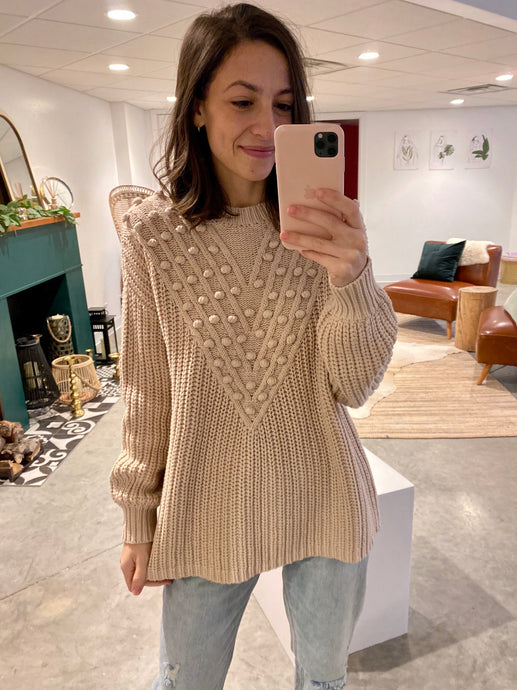 Pom Accent Knit Sweater, Oatmeal