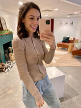 Load image into Gallery viewer, Collared Button Down Knitted Top, Taupe