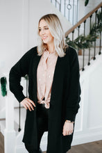 Load image into Gallery viewer, Oversized Black Balloon Sleeve Cardigan