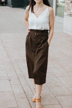 Load image into Gallery viewer, Deep Olive Belted Midi Pencil Skirt - The Margaret