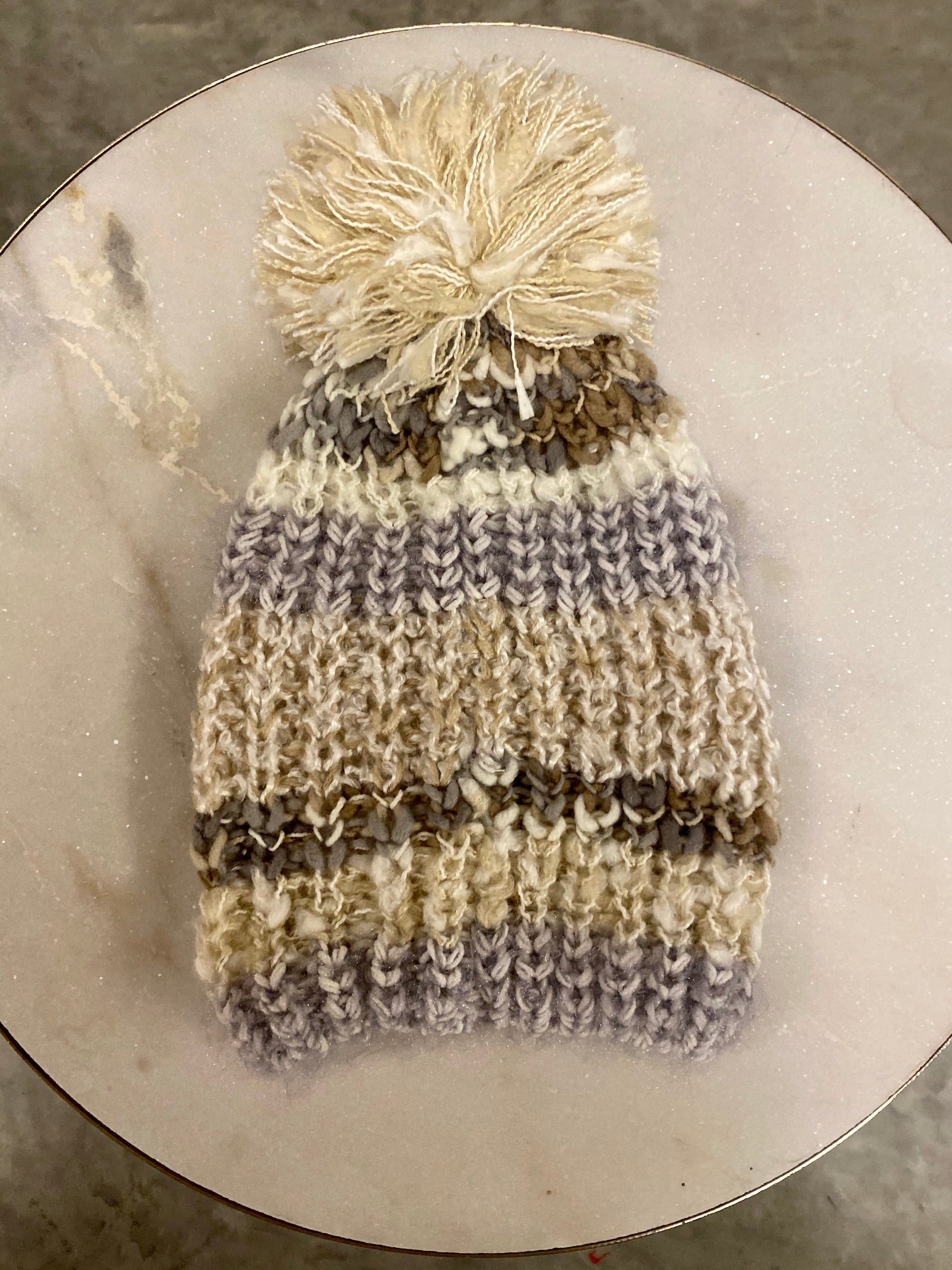 Metallic Shimmer Striped Knit Beanie - Ivory