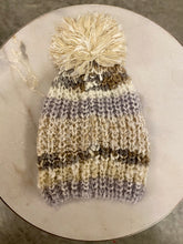 Load image into Gallery viewer, Metallic Shimmer Striped Knit Beanie - Ivory