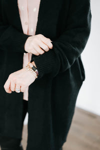 Oversized Black Balloon Sleeve Cardigan