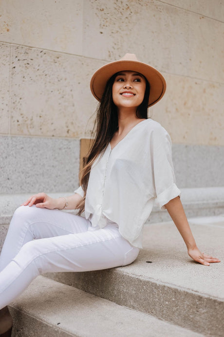 Linen Button-down Top