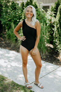 Black Bow One-Shoulder Swimsuit