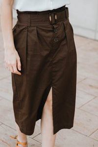 Deep Olive Belted Midi Pencil Skirt - The Margaret