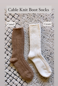 Essential Cable Knit Boot Sock, Camel