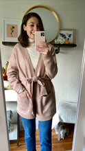Load image into Gallery viewer, Mauve Belted Midi Cardigan