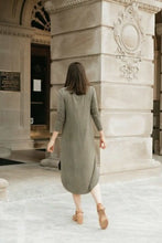Load image into Gallery viewer, Vintage Olive Green High-low Dress with Round Hem - The Diana