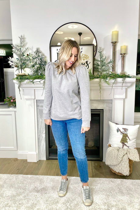 GREY PUFF SLEEVE SWEATSHIRT TOP