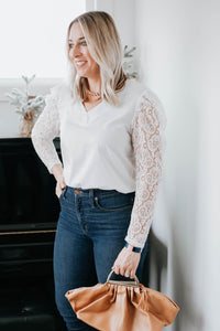 White V-Neck Top with Lace Sleeve