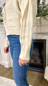 Cream Cable Knit Crop Hoodie