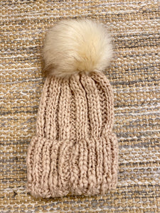 Cable Knit Beanie with Faux Fur Pompom - Blush