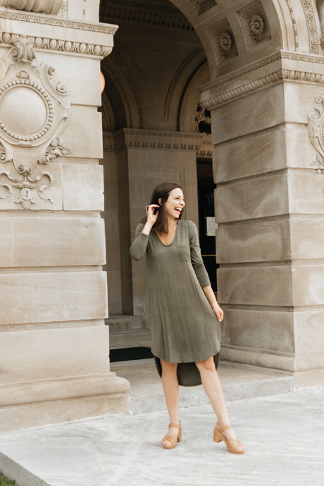 Vintage Olive Green High-low Dress with Round Hem - The Diana
