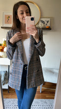 Load image into Gallery viewer, Kylie Plaid Double Breasted Blazer