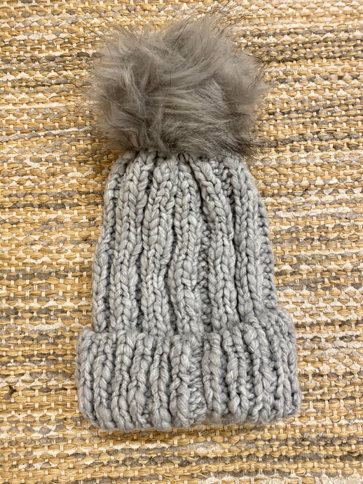 Cable Knit Beanie with Faux Fur Pompom - Light Grey