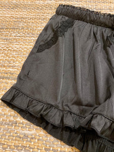 Ruffle Satin Shorts - Black